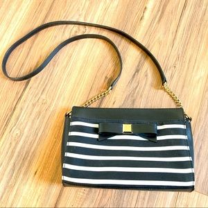 Kate Spade black bow striped crossbody purse